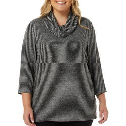 Cathy Daniels Plus Embellished Striped Cowl Neck Top