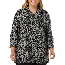 Plus Embellished Leopard Cowl Neck Top