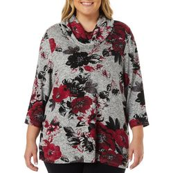 Cathy Daniels Plus Embellished Floral Cowl Neck Top
