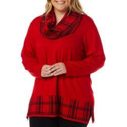 Cathy Daniels Plus Plaid Detail Tunic Top & Scarf Set