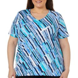 Alfred Dunner Plus Diagonal Stripe V-Neck Top