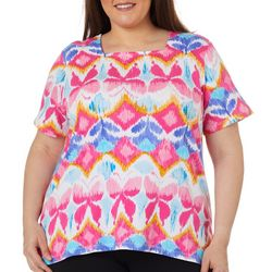 Plus Butterfly Print Square Neck Top