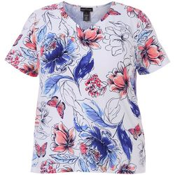Alfred Dunner Plus Floral Butterfly Print V-Neck Top