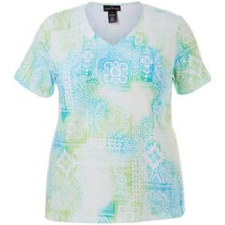 Plus Mixed Tile Print V-Neck Top