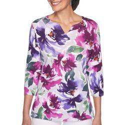 Plus Floral Split Neck Top