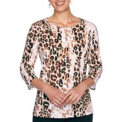 Alfred Dunner Plus Animal Print Round Neck Top