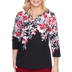 Alfred Dunner Plus Madison Avenue Floral Print Top