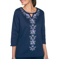 Alfred Dunner Plus Floral Center Embroidered Top