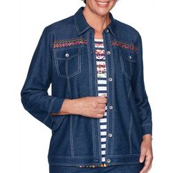 Alfred Dunner Plus Road Trip Embroidered Denim Jacket