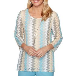 Alfred Dunner Plus Chesapeake Bay Vertical Chevron Knit Top