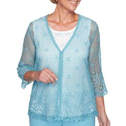 Alfred Dunner Plus Chesapeake Bay Embellished Lace Duet Top