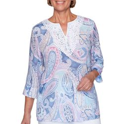 Plus Petal Pushers Paisley Print Tunic Top
