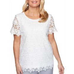 Plus Primrose Garden Solid Floral Lace Top