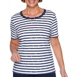 Alfred Dunner Plus Ship Shape Striped Anchor Print Top