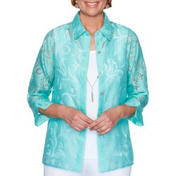 Alfred Dunner Plus Spring Lake Sheer Butterfly Duet Top