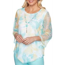 Alfred Dunner Plus Spring Lake Floral Mesh Top