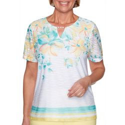 Alfred Dunner Plus Spring Lake Floral Striped Top