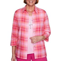 Alfred Dunner Plus Laguna Beach Plaid Duet Top