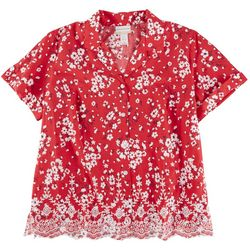 Alfred Dunner Plus Floral Eyelet Collared Top