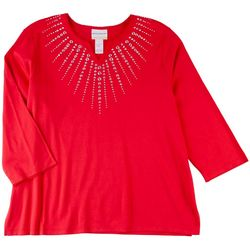 Alfred Dunner Plus Solid Gemstone Detail Top