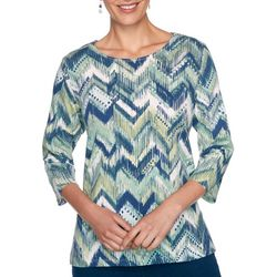 Alfred Dunner Plus Ikat Chevron Top
