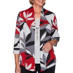 Plus Leaf Print Knit Duet Top