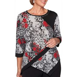 Alfred Dunner Plus Knightsbridge Asymetrical Hem Top