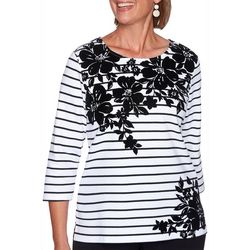 Alfred Dunner Plus Modern Living Floral Yoke Striped Top