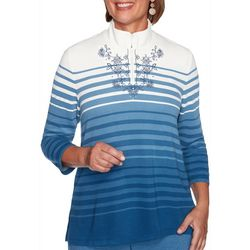 Alfred Dunner Plus Long Weekend Ombre Stripe Pullover Top