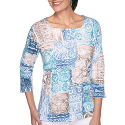 Alfred Dunner Plus Patchwork Square Neck Top