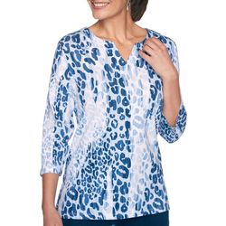 Alfred Dunner Plus Animal Printed Split Neck Top
