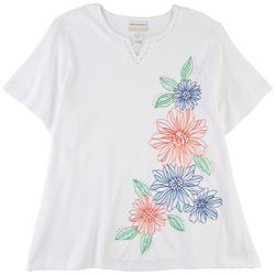 Alfred Dunner Plus Embroidered Printed Top