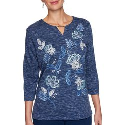 Alfred Dunner Plus Denim Friendly Floral Embroidery Top