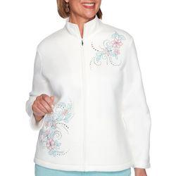 Alfred Dunner Plus St. Moritz Floral Fleece Jacket