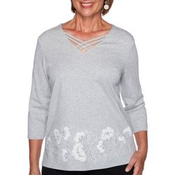 Alfred Dunner Plus Glacier Lake Border Floral Embroidery Top