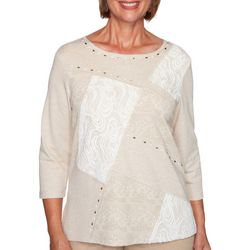 Alfred Dunner Plus Glacier Lake Lace Patchwork Top