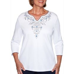 Alfred Dunner Plus Embroidered Yoke Split Neck Top