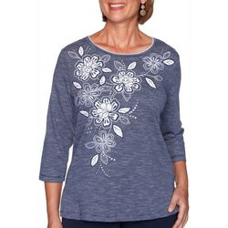 Alfred Dunner Plus Heathered Floral Yoke Top