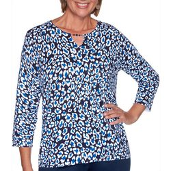Alfred Dunner Plus Leopard Keyhole Top