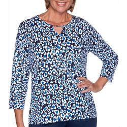 Plus Leopard Keyhole Top