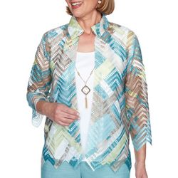 Alfred Dunner Petite Chevron 2-For-1 Collared Top