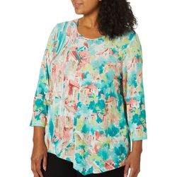 Alfred Dunner Plus Costal Drive Bling Scenic Top