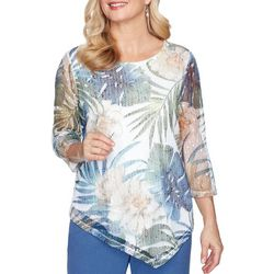 Alfred Dunner Plus Asymmetrical Palm Leaf Overlay Top