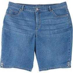 Plus Amanda Button Hem Bermuda Shorts