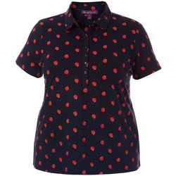 Plus Annie Apple Print Polo Shirt