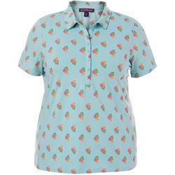 Plus Annie Hibiscus Print Polo Shirt
