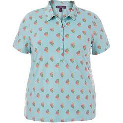 Gloria Vanderbilt Plus Annie Hibiscus Print Polo Shirt