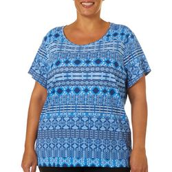 Gloria Vanderbilt Plus Margaret Ikat Print Top