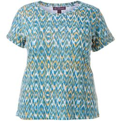 Gloria Vanderbilt Plus Margaret Graphic Ikat Print Top