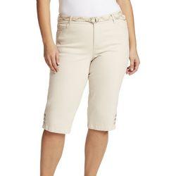 Gloria Vanderbilt Plus Solid Capris With Belt